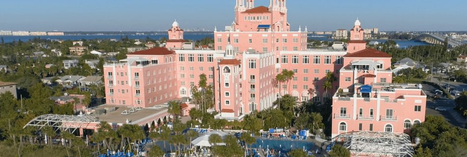 aerial drone video of the Don CeSar hotel in St. Petersburg Florida
