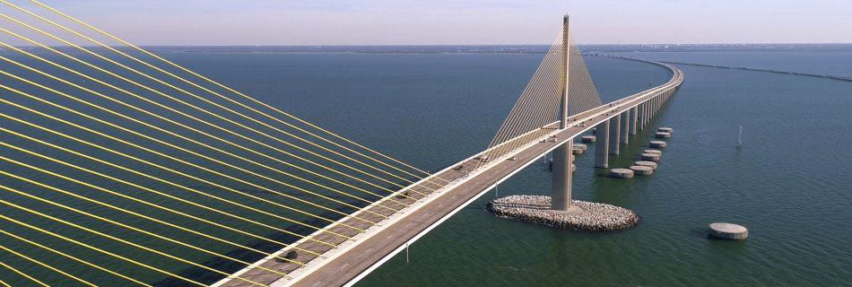 Aerial drone vidfeo of the sunshine skyway bridge
